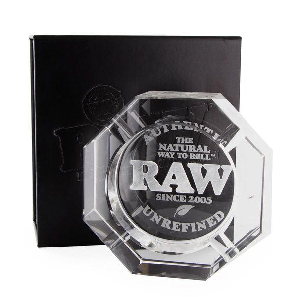 raw crystal glass ashtray